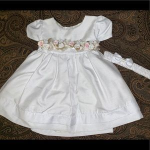 Melody Kids White Dress  Floral With Head Piece.